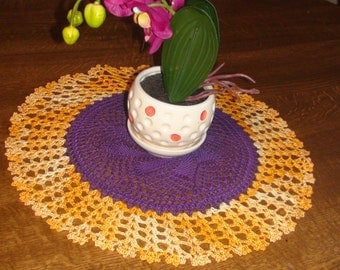 Crocheted doily Purple and yellow doily Handmade doily Table decoration Lace doily Crochet doily