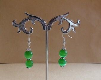 Cat's Eye green earrings.Womens jewelry.Dangle earrings.