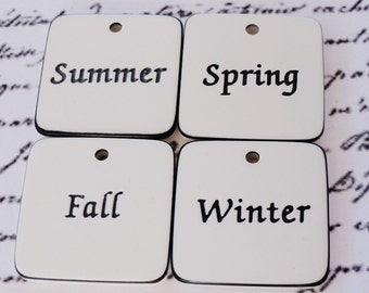 Scrapbooking Embellishments, Seasons, Tiles, White, Black, 1 Inch Square, Paper Craft Supply