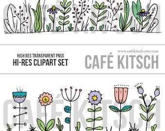 INSTANT DOWNLOAD - Wildflower Border Clip Art Set - Doodle Elements - Prairie Flower Border Frame Clipart