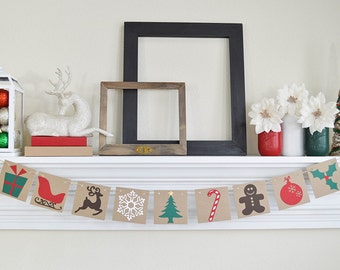 Bannière joyeux Noël - Noël traditionnel Images guirlande - banderole en Photo Prop - Dectoration de Noël - Noël - Noël signe