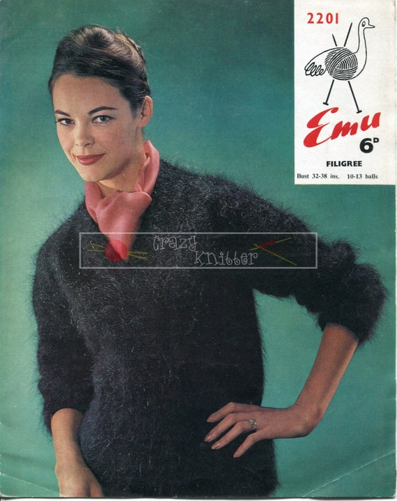 Lady's Sweater Mohair 32-38in Emu 2201 Vintage Knitting Pattern PDF instant download