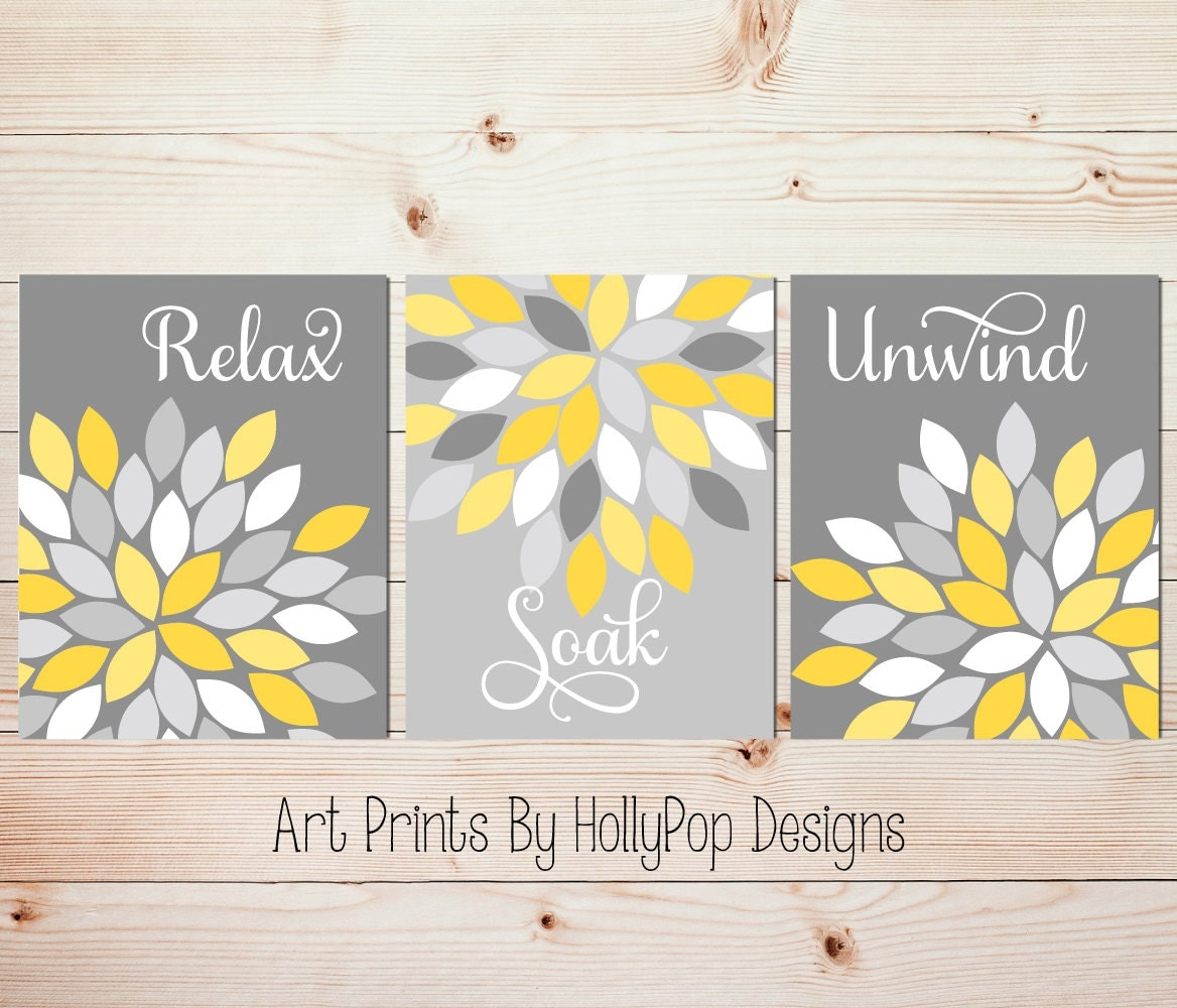 Yellow Gray Wall Art Set Of 3 Bathroom Prints By HollyPopDesigns