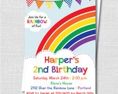 Colorful Rainbow Birthday Party Invitation - Rainbow Themed Birthday - Digital Design or Printed Invitations - FREE SHIPPING