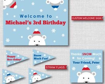 Boy Polar Bear Birthday Party - Polar Bear Printable Party Set - Winter Party - DIGITAL DESIGN
