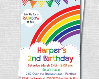 rainbow birthday party invitations  etsy, Birthday invitations