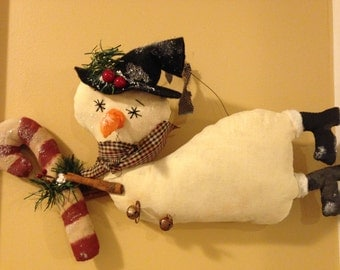 Primitive Country Christmas Snowman Flying with Candy Cane, Wreath/Door Hanger