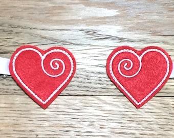 Love Heart Valentine Valentine's Day Hair Clip Hairclip, Feltie Hair Clip Clippie