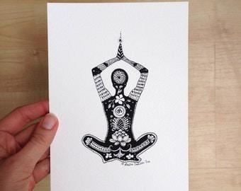 Yogi Art Print - 5x7 Limited Edition, Yoga Art