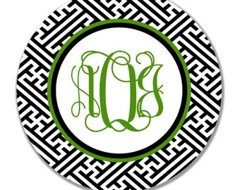 personalized Melamine Plate - custom melamine greek monogram