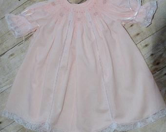 Ballet Pink Lacy Bishop Smocked Dress size 6 Months