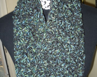 Soft Drapey Cowl in Eye-Catching Stained Glass Colors - Emerald / Denim Blue / Black With Sparkle