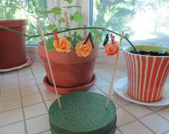 Fairy Garden Clothesline With Flowers and Mini Hand Dyed Clothespins