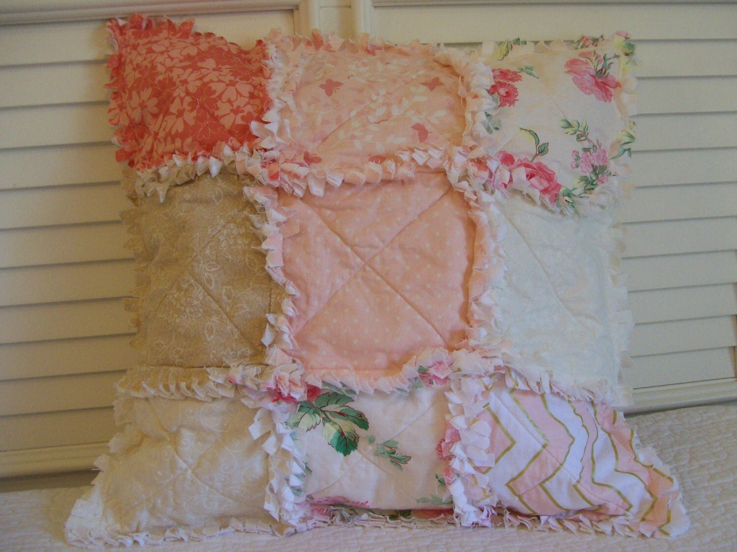 Crib Rag Quilt Style Pillow Cover Coral Pink Made To Order