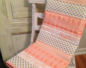 Peach Baubles Baby Quilt - Coral and Gold Baby Quilt