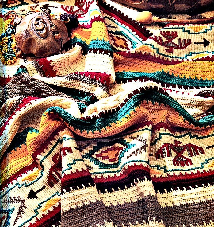 Crochet Patterns Native American : Crochet Blanket Pattern Indian Summer Afghan Etsy