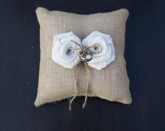 Burlap Ring Bearer Pillow, Ring Bearer Pillow, Wedding Pillow, Wedding Ring Pillow, Bridal Pillow 8x8 square