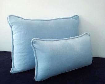 """Velvet Baby Blue Throw Pillow 18"""" by 10"""", Small Velvet Cushion, Baby Room Decor"""