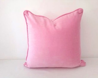 """Pink Velvet Throw Pillow Cover 20"""" by 20"""", Baby Pink Cushion Cover, FREE SHIPPING"""