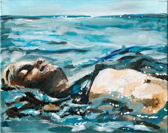 Floating. Ocean Art Print, Beach Home Decor, Seaside Art, Figure painting, 16 x 20