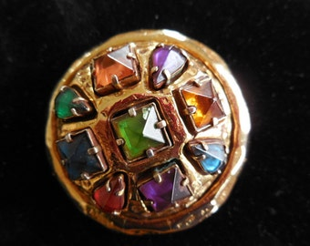 Kalinger Paris Pin - Made in France - Goldtone Multi-Colored Glass Stone Brooch
