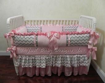 Baby Crib Bedding Set Angelica - Baby Girl Bedding, Pink and Gray Chevron, Pink Satin