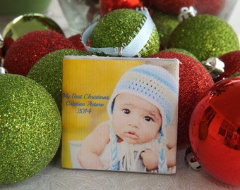 Baby's First Christmas Ornament - Photo Ornament- Personalized Baby Boy, Girl Ornament- Photo tile