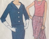 McCalls 7714 - MISSES SUIT and BLOUSED, Size 12, Bust 32 - Vintage Dress Pattern, Single Breasted Jacket, Skirt and Top - Sixties Fashion