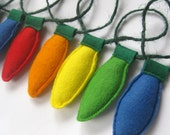 Handmade Felt Christmas Tree Light Garland Decoration in Rainbow Colours