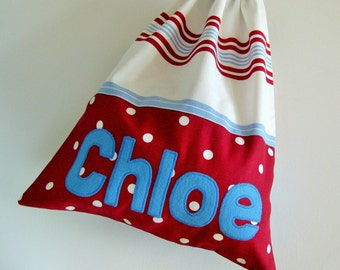 Handmade Fabric PE Bag Personalised Child's with Stripes and Spots