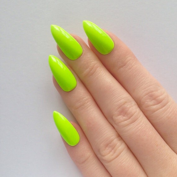 Acrylic Nail Designs Lime Green: Lime green and pink colored acrylic ...