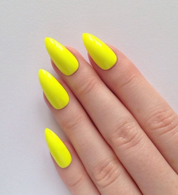 neon yellow stiletto nails nail designs nail by