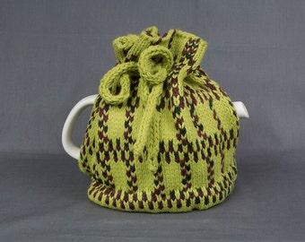 Knitted Teapot Cozy Tea Cosie Green and Purple colored yarn Scandinavian Fair Isle Design