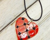Large love red heart, ceramic necklace, ceramic love pottery pendant, Valentines anniversary jewelry