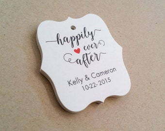 Custom Wedding Tags, Happily Ever After Tags, Thank You Tags, Personalized Wedding Tag, Wedding Favor Tags, Set of 25, (TW10)