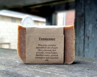 Tennessee (Bergamot & Patchouli with Cinnamon) Soap, Handmade Soap, Natural Soap, Vegan Soap, Artisan Soap, Bar Soap,Gift, Gift Soap Organic