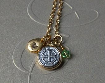 Baptism.St. Benedict Personalized Gift.Custom Gift.Hand Stamped Gift .St.Benedict Necklace.Baptism Gift.Catholic Jewelry.Godmpther Necklace.