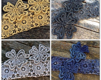 Hand dyed cotton lace package 2 large and 4 small flower