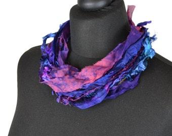 Silk Yarn Necklace in Purple by Crooked Knitwear
