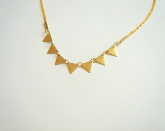 Brass Bunting Necklace, Triangles Necklace,Bunting Necklace,Geometric Jewelry