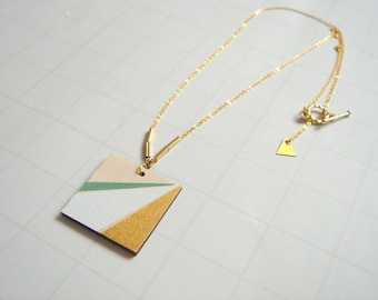 Wood Geometric Necklace, Hand Painted  Wood Necklace,Geometric Jewelry