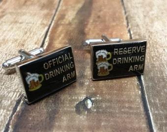 Groomsmen cufflink - Drinking arm - reserved drinking arm