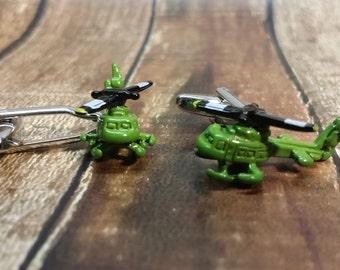 Helicopter cufflink - army cufflink