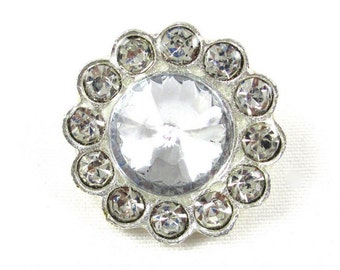 Round Button - Set of 2 Metal Buttons - 19mm Rhinestone Buttons - MB-028