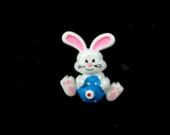 "Blue Easter Bunny - Set of 5 Resin Appliques - 1"" Easter Flatback Resins - RES-023"