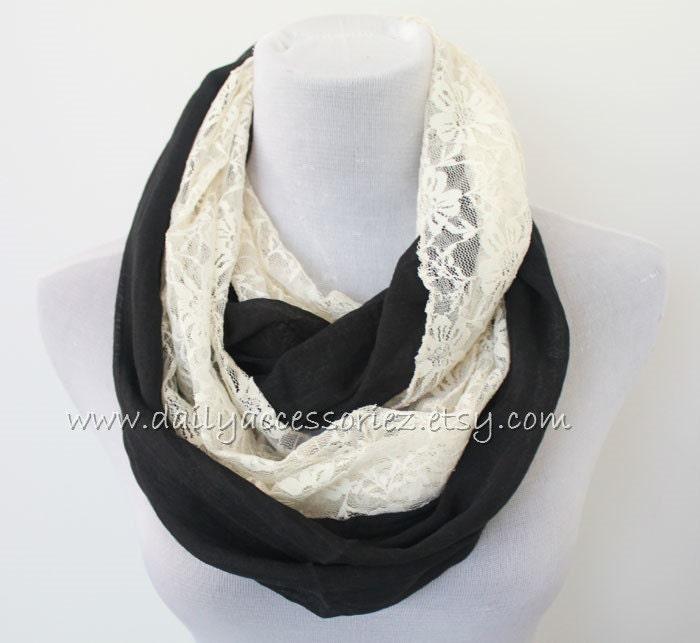 lace infinity scarf blue loop scarves boho fashion fashion