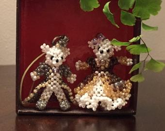 Beaded prince and princess bears