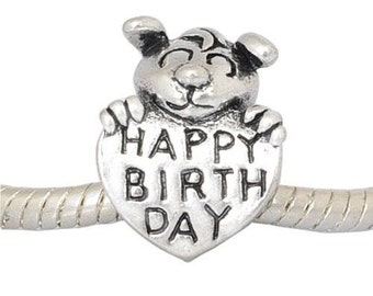 Happy Birthday, European Charm Bead For All Large Hole Charm Bracelet And Necklace Chain. Spring Collection