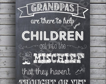 Grandpa Sign/ Chalkboard/ Grandpas and Children - Print