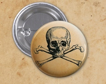 Skull and Crossbones Vintage Gothic Halloween Pinback Button